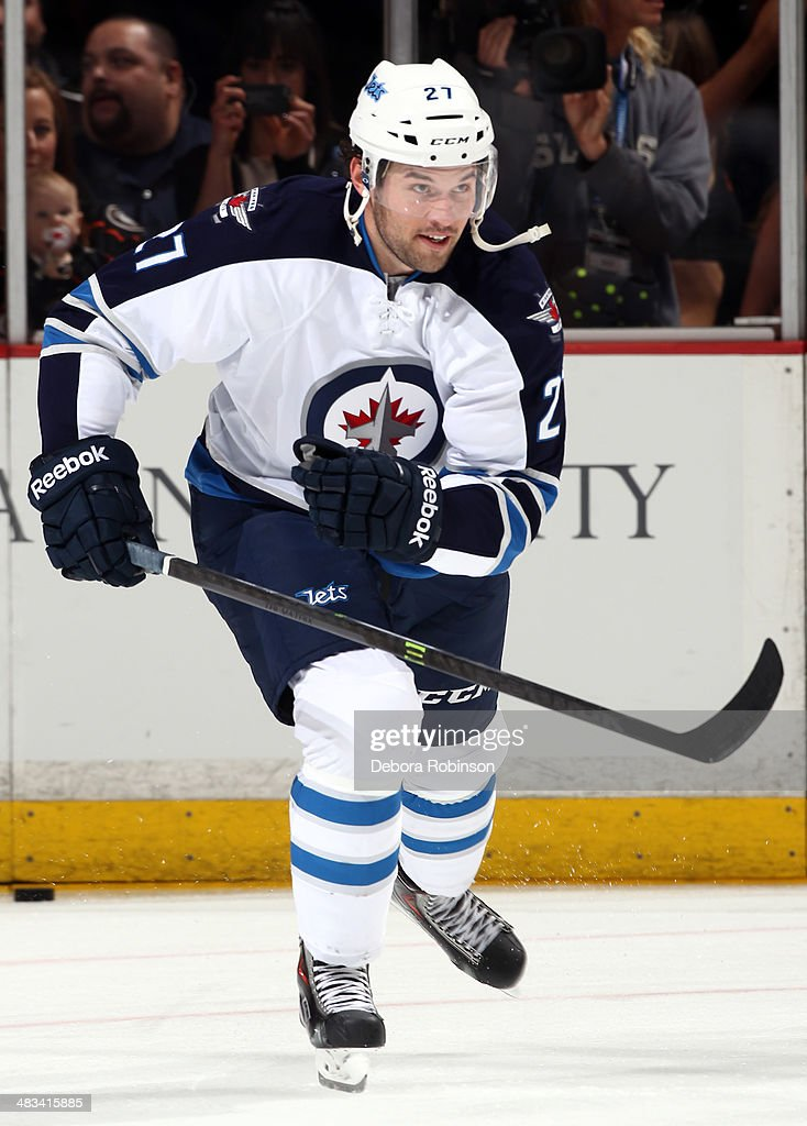 Eric Tangradi #27 of the Winnipeg Jets skates against the Anaheim Ducks on March 31, 2014 at Honda Center in Anaheim, California.