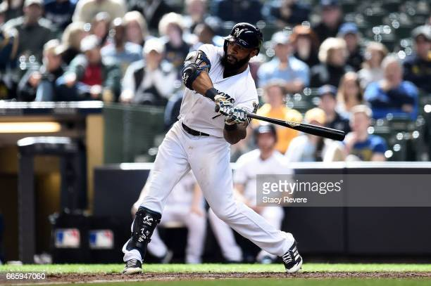 Eric Thames of the Milwaukee Brewers at bat during a game against the Colorado Rockies at Miller Park on April 6 2017 in Milwaukee Wisconsin Colorado...