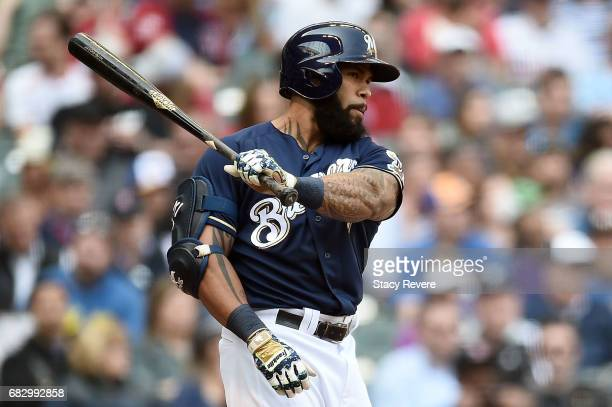 Eric Thames of the Milwaukee Brewers at bat during a game against the Boston Red Sox at Miller Park on May 11 2017 in Milwaukee Wisconsin The Red Sox...