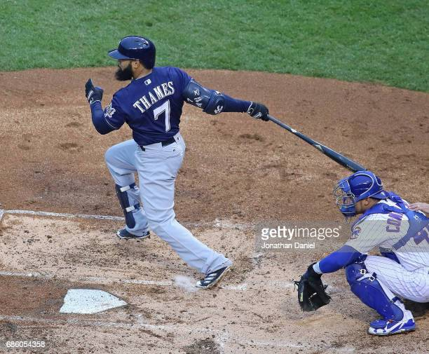 Eric Thames of the Milwaukee Brewers bats against the Chicago Cubs at Wrigley Field on May 19 2017 in Chicago Illinois The Brewers defeated the Cubs...