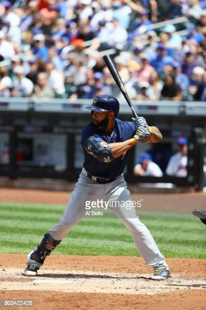 Eric Thames of the Milwaukee Brewers bats against the New York Mets during their game at Citi Field on June 1 2017 in New York City