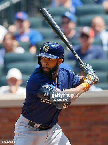 Eric Thames of the Milwaukee Brewers bats during an MLB baseball game against the New York Mets on June 1 2017 at CitiField in the Queens borough of...