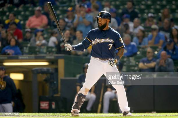 Eric Thames of the Milwaukee Brewers bats in the ninth inning against the St Louis Cardinals at Miller Park on April 23 2017 in Milwaukee Wisconsin