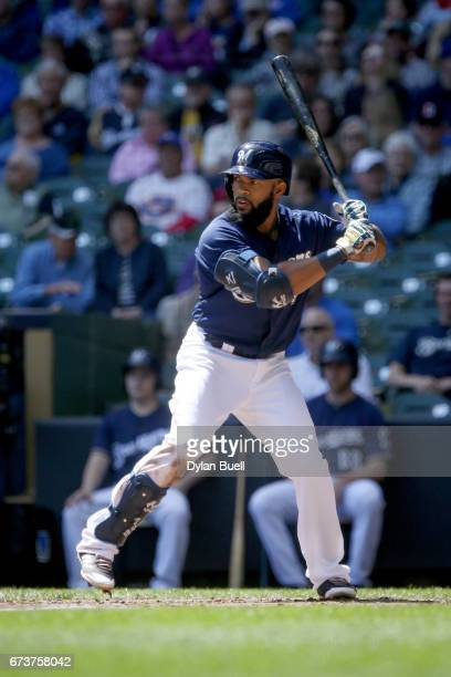 Eric Thames of the Milwaukee Brewers bats in the second inning against the Cincinnati Reds at Miller Park on April 26 2017 in Milwaukee Wisconsin