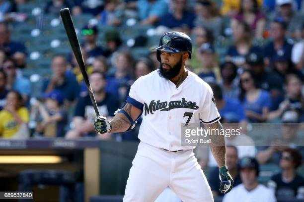 Eric Thames of the Milwaukee Brewers bats in the sixth inning against the Arizona Diamondbacks at Miller Park on May 27 2017 in Milwaukee Wisconsin
