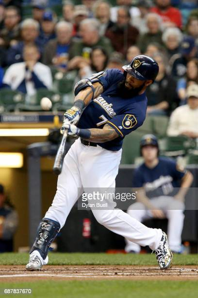 Eric Thames of the Milwaukee Brewers flies out in the first inning against the Toronto Blue Jays at Miller Park on May 24 2017 in Milwaukee Wisconsin