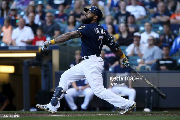 Eric Thames of the Milwaukee Brewers flies out in the first inning against the Pittsburgh Pirates at Miller Park on June 20 2017 in Milwaukee...