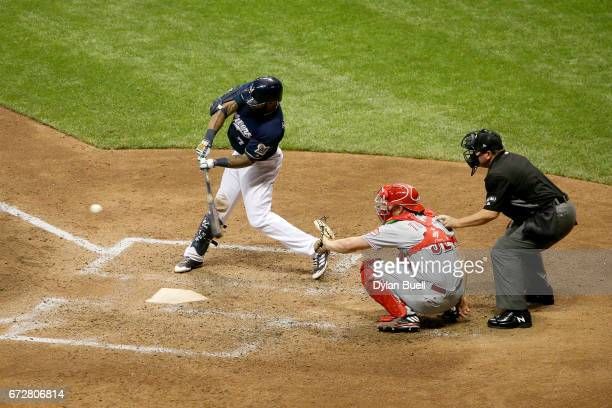Eric Thames of the Milwaukee Brewers flies out in the sixth inning against the Cincinnati Reds at Miller Park on April 24 2017 in Milwaukee Wisconsin