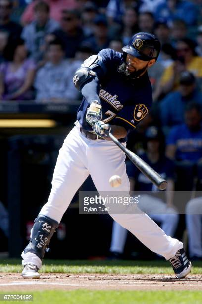 Eric Thames of the Milwaukee Brewers grounds into a fielder's choice in the first inning against the St Louis Cardinals at Miller Park on April 23...