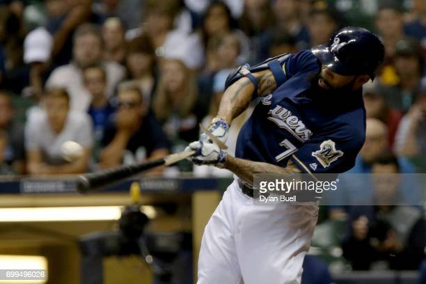 Eric Thames of the Milwaukee Brewers grounds out in the seventh inning against the Pittsburgh Pirates at Miller Park on June 21 2017 in Milwaukee...