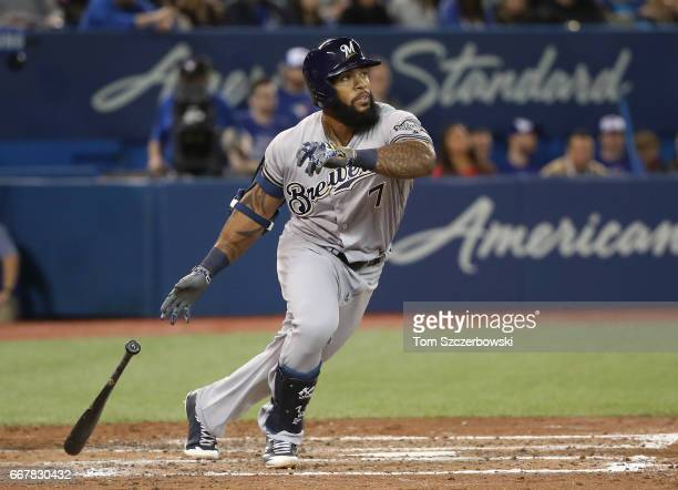 Eric Thames of the Milwaukee Brewers hits a double in the sixth inning during MLB game action against the Toronto Blue Jays at Rogers Centre on April...