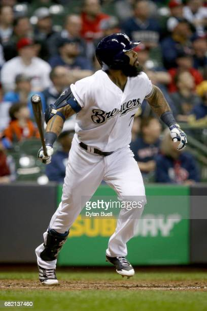 Eric Thames of the Milwaukee Brewers hits a ground rule double in the fifth inning against the Boston Red Sox at Miller Park on May 10 2017 in...