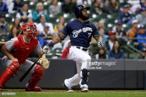 Eric Thames of the Milwaukee Brewers hits a home run in the first inning against the Cincinnati Reds at Miller Park on April 24 2017 in Milwaukee...