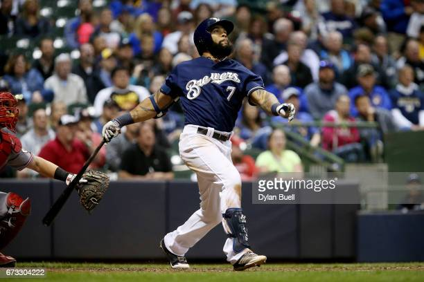 Eric Thames of the Milwaukee Brewers hits a home run in the sixth inning against the Cincinnati Reds at Miller Park on April 25 2017 in Milwaukee...