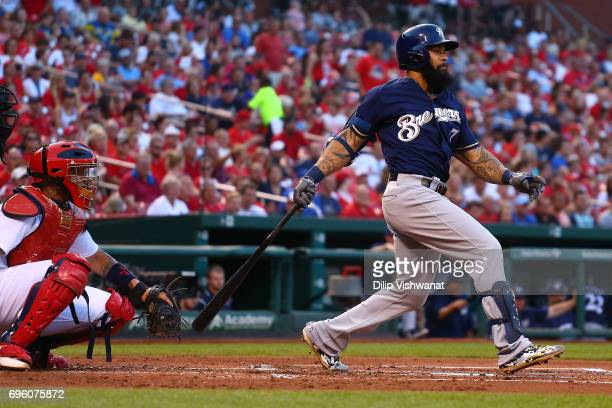 Eric Thames of the Milwaukee Brewers hits a twoRBI double against the St Louis Cardinals in the second inning at Busch Stadium on June 14 2017 in St...