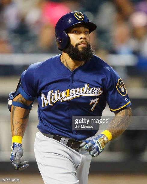 Eric Thames of the Milwaukee Brewers in action against the New York Mets at Citi Field on May 31 2017 in the Flushing neighborhood of the Queens...