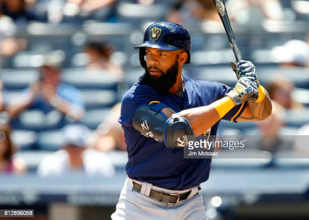 Eric Thames of the Milwaukee Brewers in action against the New York Yankees at Yankee Stadium on July 9 2017 in the Bronx borough of New York City...