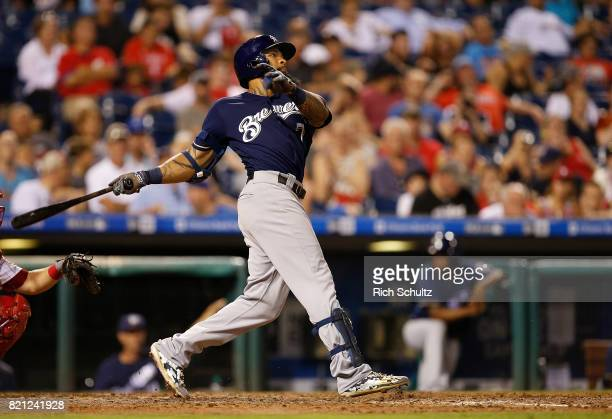 Eric Thames of the Milwaukee Brewers in action against the Philadelphia Phillies during a game at Citizens Bank Park on July 21 2017 in Philadelphia...