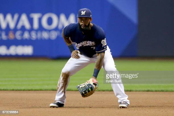 Eric Thames of the Milwaukee Brewers plays first in the fourth inning against the Cincinnati Reds at Miller Park on April 25 2017 in Milwaukee...