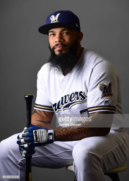 Eric Thames of the Milwaukee Brewers poses for a portrait during a MLB photo day at Maryvale Baseball Park on February 22 2017 in Maryvale Arizona