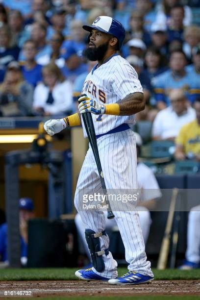 Eric Thames of the Milwaukee Brewers reacts after striking out in the first inning against the Philadelphia Phillies at Miller Park on July 14 2017...