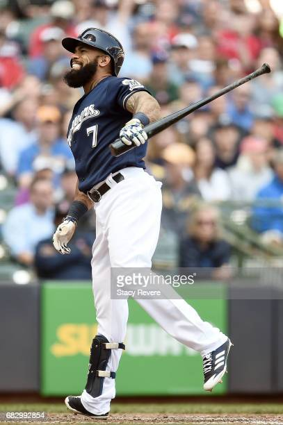 Eric Thames of the Milwaukee Brewers reacts to a strike out during a game against the Boston Red Sox at Miller Park on May 11 2017 in Milwaukee...