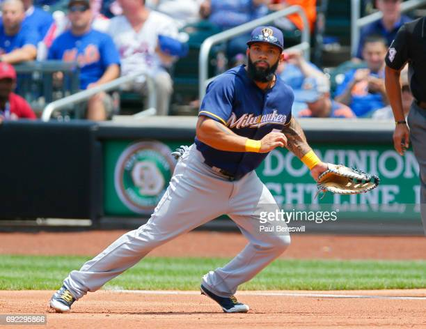 Eric Thames of the Milwaukee Brewers runs over to cover first base during an MLB baseball game against the New York Mets on June 1 2017 at CitiField...