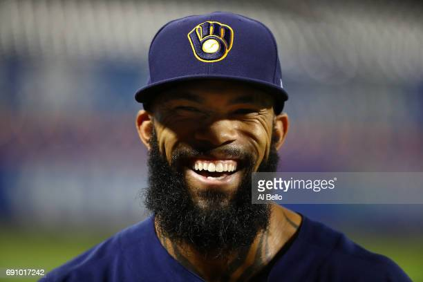 Eric Thames of the Milwaukee Brewers smiles after their 71 win against the New York Mets at Citi Field on May 31 2017 in New York City