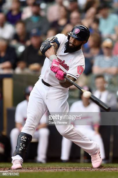 Eric Thames of the Milwaukee Brewers strikes out during the second inning of a game against the New York Mets at Miller Park on May 13 2017 in...