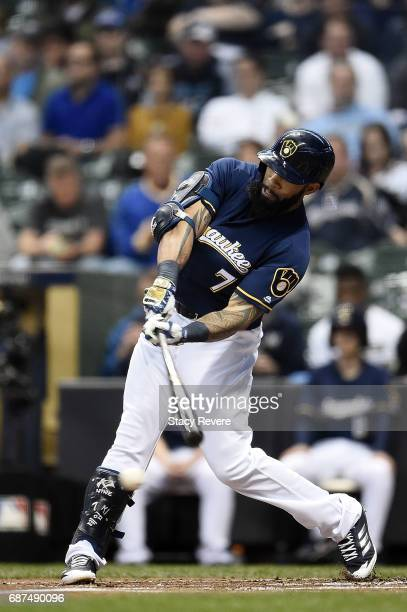 Eric Thames of the Milwaukee Brewers swings at a pitch during the first inning of a game against the Toronto Blue Jays at Miller Park on May 23 2017...