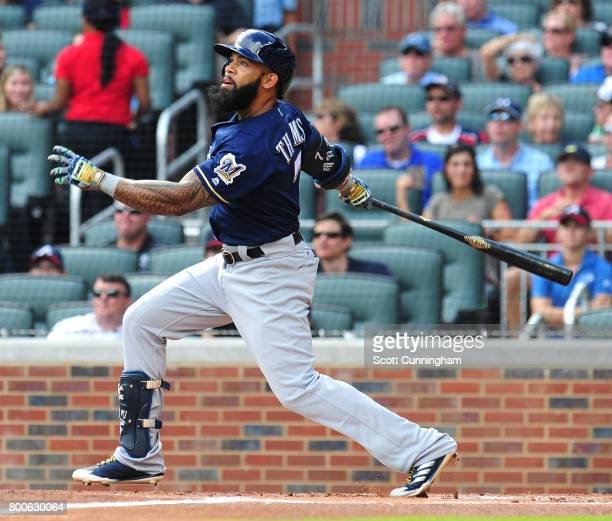 Eric Thames of the Milwaukee Brewers takes a first inning swing against the Atlanta Braves at SunTrust Park on June 24 2017 in Atlanta Georgia