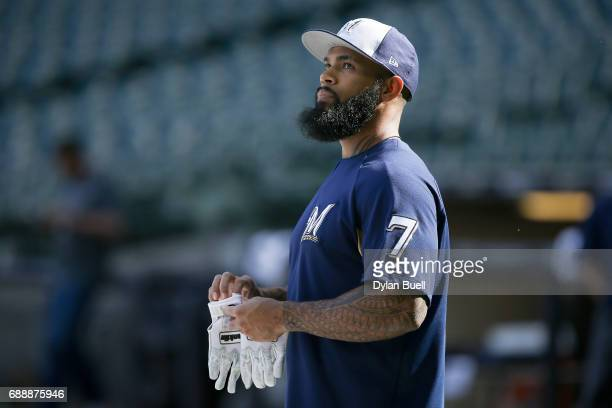 Eric Thames of the Milwaukee Brewers warms up before the game against the Arizona Diamondbacks at Miller Park on May 25 2017 in Milwaukee Wisconsin