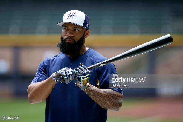 Eric Thames of the Milwaukee Brewers warms up before the game against the Miami Marlins at Miller Park on July 01 2017 in Milwaukee Wisconsin