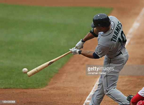 Eric Thames of the Seattle Mariners bats against the Chicago White Sox at US Cellular Field on August 26 2012 in Chicago Illinois