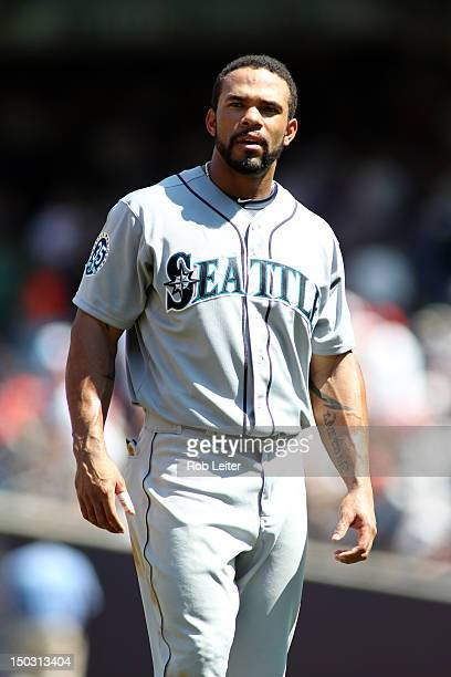 Eric Thames of the Seattle Mariners looks on during the game against the New York Yankees at Yankee Stadium on August 4 2012 in New York New York The...