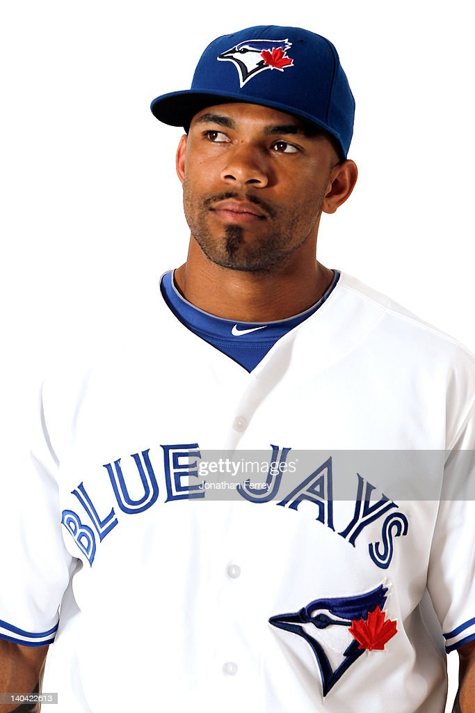 <a gi-track='captionPersonalityLinkClicked' href=/galleries/search?phrase=Eric+Thames&family=editorial&specificpeople=7509145 ng-click='$event.stopPropagation()'>Eric Thames</a> #14 of the Toronto Blue Jays poses for a portrait at Dunedin Stadium on March 2, 2012 in Dunedin, Florida.