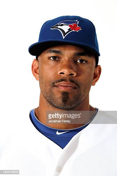 Eric Thames of the Toronto Blue Jays poses for a portrait at Dunedin Stadium on March 2 2012 in Dunedin Florida