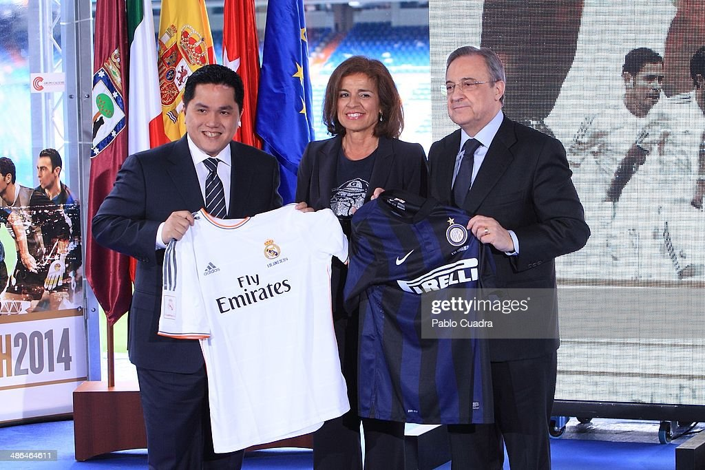 Eric Thohir, <a gi-track='captionPersonalityLinkClicked' href=/galleries/search?phrase=Ana+Botella&family=editorial&specificpeople=235432 ng-click='$event.stopPropagation()'>Ana Botella</a> and <a gi-track='captionPersonalityLinkClicked' href=/galleries/search?phrase=Florentino+Perez&family=editorial&specificpeople=567584 ng-click='$event.stopPropagation()'>Florentino Perez</a> attend 'Juntos Por la Infancia' Charity Match Presentation at Estadio Santiago Bernabeu on April 24, 2014 in Madrid, Spain.