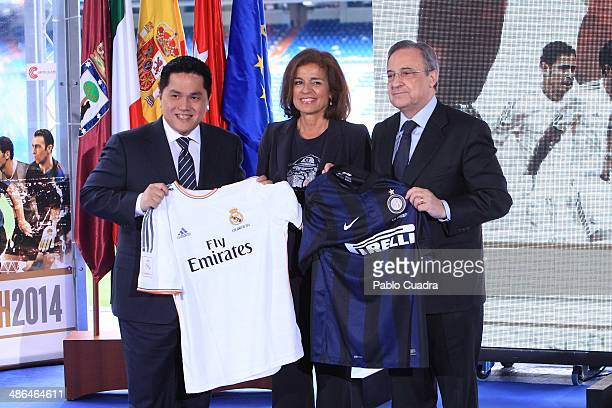 Eric Thohir Ana Botella and Florentino Perez attend 'Juntos Por la Infancia' Charity Match Presentation at Estadio Santiago Bernabeu on April 24 2014...