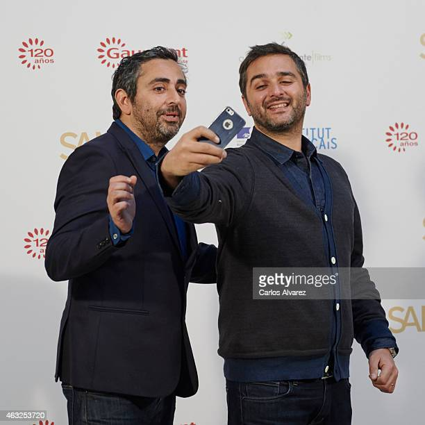 Eric Toledano and Olivier Nakache attend 'Samba' photocall at the French Embassy on February 12 2015 in Madrid Spain