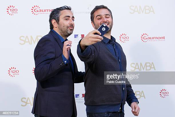 Eric Toledano and Olivier Nakache taking a selfie during a photocall to present 'Samba' at the residence of the French Ambassador on February 12 2015...
