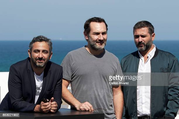 Eric Toledano Olivier Nakache and Gilles Lellouche attend the 'Le Sens De La Fete / C'Est La Vie' photocall during the 65th San Sebastian...