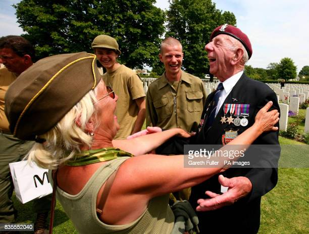 Eric Toylon a 6th Airbourne glider pilot during World War Two shares his memories with war enthusiasts during a wreath laying ceremony at the Bayeux...