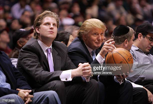 Eric Trump and Donald Trump attend Chicago Bulls vs New Jersey Nets game at the IZOD Center on October 31 2007 in East Rutherford New York