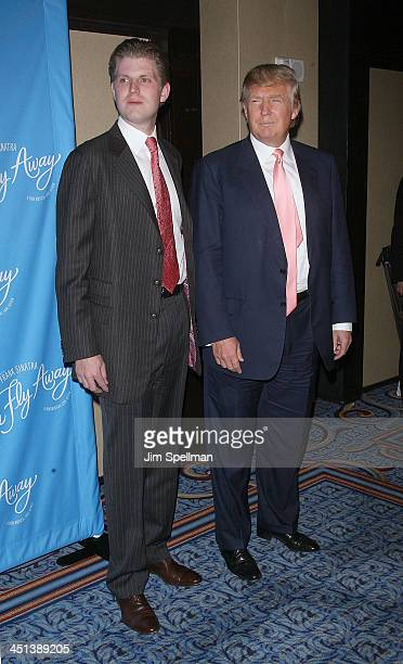 Eric Trump and Donald Trump attend the Broadway opening of Come Fly Away at the Marriot Marquis on March 25 2010 in New York City