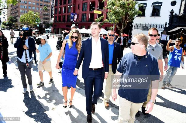 Eric Trump and his wife Lara appear at the star dedication ceremony for radio personality Elvis Duran on the Hollywood Walk of Fame on March 2 2017...