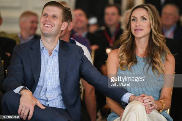 Eric Trump and his wife Lara attend the opening Trump Turnberry's new golf course the King Robert The Bruce course on June 28 2017 in Turnberry...