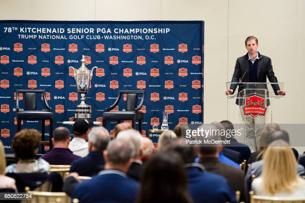 Eric Trump General Chair 2017 KitchenAid Senior PGA Championship speaks at a news conference during the 78th KitchenAid Senior PGA Championship Media...