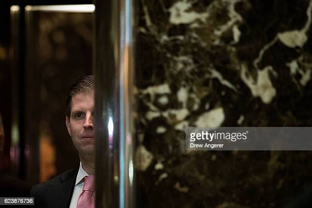 Eric Trump gets into an elevator at Trump Tower November 17 2016 in New York City Presidentelect Donald Trump and his transition team are in the...