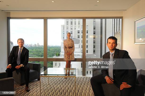 Eric Trump Ivanka Trump and Donald Trump Jr are photographed for the Washington Post on June 6 2012 in New York City